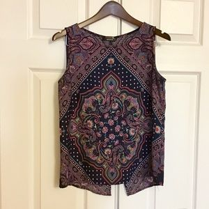 ReneeC Boho Pattern Sleeveless Blouse